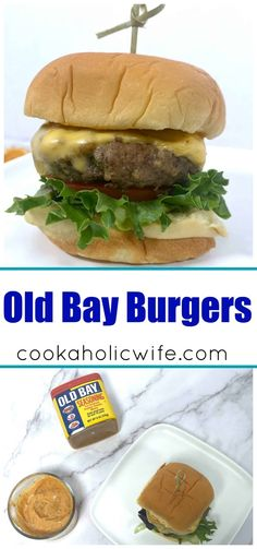 Old Bay Burgers are a Maryland twist on a classic burger. Patties are seasoned with ground beef and there's even an Old Bay burger sauce to slather on top. #burgers #oldbay #oldbayburgers