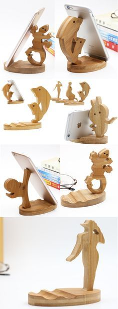Cute Wooden Animal iPhone Cell Phone Stand Mount Holder Business Card Display Stand Holder Office Desk Organizer for iPhone 77 Plus6s6s Plus and other smartphones