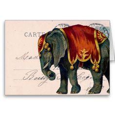 Vintage Elephant Postcard Digital Art Greeting Card by Angelandspot