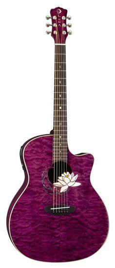 Luna Flora Series Lotus Quilted Maple Cutaway Acoustic-Electric Guitar - Transparent Shiraz by Luna Guitars jsmartmusic.com