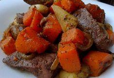Печень с тыквой и яблоками — Калейдоскоп событий Pot Roast, Sweet Potato, Recipies, Good Food, Meals, Vegetables, Ethnic Recipes, Drink, Carne Asada