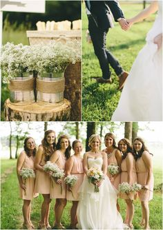 Blush bridesmaid dresses for a country wedding | photos by http://cinderellaphotoblog.com | see more http://www.thebridelink.com/blog/2013/10/16/outdoor-wedding-at-pleasant-hill-vineyards/