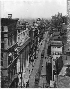 James Street, looking East, Montreal, QC, about 1910 Old Montreal, Montreal Ville, Montreal Quebec, Montreal Canada, Colonial Architecture, Historical Architecture, Old Pictures, Old Photos, Photo Vintage
