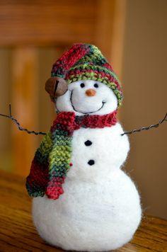 Snowman- handmade Needle Felted wool Snowmen - Christmas Decor - 352