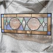 Pink Depression glass plate stained glass panel.