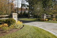 Image detail for -... Stone Columns with Split Rail Fencing and Perennials - New Vernon, NJ