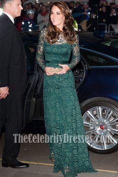 Kate Middleton Long Green Lace Evening Dress Portrait Gala 2017 Fundraiser  TCD7210 215a78a99276
