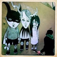Black and white street art by Fred le Chevalier