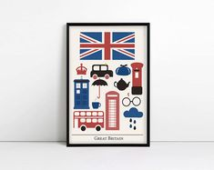 Great Britain Print - Minimalist Poster - Harry Potter - Sherlock - Doctor Who - Patriotic - Anglophile - Modern Art