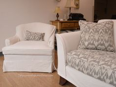 Slipcover made with painters drop cloth