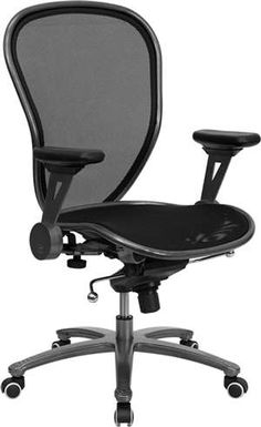 Flash Mid-Back Professional Mesh Chair-Metal w/ Silver Vein Accents.  Pivoting arms, lumbar support.