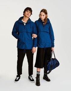 Pull&Bear - erkek - unisex - koleksiyon - kapüşonlu kanguru ceket - mavi - 09713503-I2017