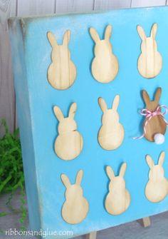 Wood Veneer Bunny Art Canvas  {ribbonsandglue.com}