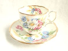Vintage Royal Albert Harvest Bouquet Teacup Saucer 1950s Countess Fluted Brushed Gold