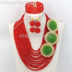 Red African Nigerian Wedding Crystal Beads Necklace Set,African Beaded Jewelry,Nigerian Beaded Necklace,African Costume Jewelry Set.$57.8