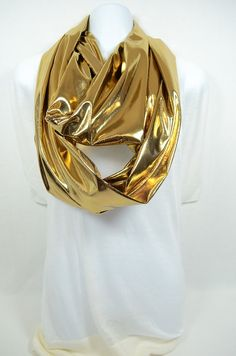 Liquid Foil Gold Infinity Scarf - Handmade - Original - Great for Holiday, Casual or Office Wear - Easy Care
