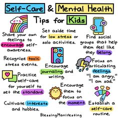 Self care for kids is just as important as it is for adults. Teaching your kids self-care can improve their over-all mental health and well-being. health activities health care health ideas health tips healthy meals Mental Health Posters, Mental Health Week, Mental Health Activities, Mental And Emotional Health, Self Care Activities, Mental Health Quotes, Social Emotional Learning, Therapy Activities, Mental Health Awareness