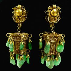 Antique Art Deco Chinese Jade and Gold Wash Dragon Lantern Earrings
