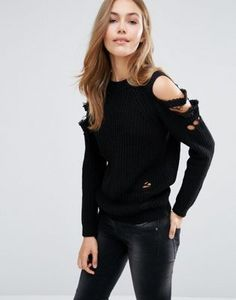 Boohoo Distressed Cold Shoulder Sweater