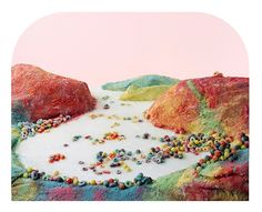 For Processed Views, photography duo Barbara Ciurej and Lindsay Lochman construct sweeping landscapes from highly refined foodstuffs, including sugary breakfast cereals and sodas, canned and packaged meats, snack chips, sand candy.
