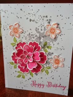 Birthday Flowers by Stampin' Obsessed! - Sally's Board - Birthday Flowers by Stampin' Obsessed! Birthday Flowers by Stampin' Obsessed! Flower Stamp, Flower Cards, Pansy Flower, Handmade Birthday Cards, Happy Birthday Cards, Flower Patch, Stamping Up Cards, Pretty Cards, Cool Cards
