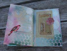 Art journal inspiration. Rambling Rose. Typepad blog. Spray paint journal