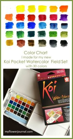 My new Koi Pocket Watercolor set is such a great on the go watercolor set. I made a color chart to keep with my set so I can see what all 30 colors look like as I use it. From myflowerjournal