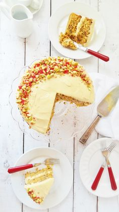 Carrot cake with pistachios and vanilla bean icing