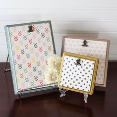 The post says to use as picture frames, but I think one of these would be an excellent idea for recipe cards when cooking... Easy+DIY+Wood+Plaque+Picture+Frames