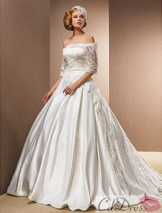 Ball Gown Sweep/Brush Train Wedding Dress With Removable Straps from CDdress.com