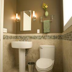 Bathroom idea...I like the small tile boarder