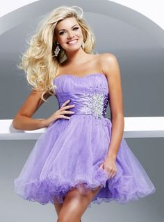 $63.99     Lilac Strapless Beaded Net Satin Tulle Short Prom Cocktail Dress