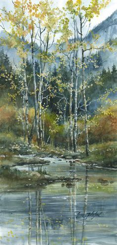 Watercolor Paintings lance johnson | Fall Aspens | Lance Johnson Paintings