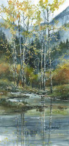 Watercolor Paintings lance johnson | Fall Aspens | Lance Johnson Paintings