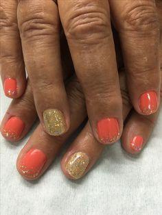 Late summer Fall Gold Glitter gradient gel nails