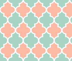 Quatrefoil in Mint and Coral fabric by sparrowsong on Spoonflower - custom fabric