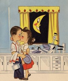 Retro Anniversary Greeting Card Check out this unique greeting card that cannot be found in any store. Find something special for your loved ones. Vintage Romance, Vintage Love, Vintage Images, Vintage Kiss, Vintage Stuff, Vintage Pictures, Anniversary Greeting Cards, Good Night Moon, Vintage Cartoon