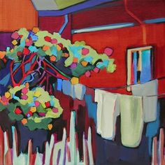 Daily Painting, Fresh Scent Laundry, contemporary urban scene, painting by artist Carolee Clark