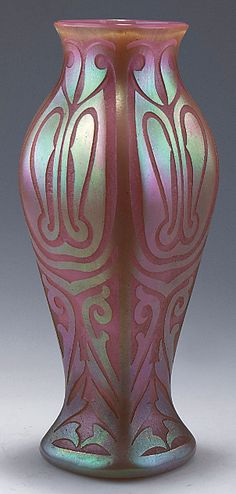 Loetz Vase, c1903. H. 25.3 cm. Cased glass, opal pink and clear, densly fused silvery crushed glass, etched pattern with tendrils, matt mother of pearl lustre.