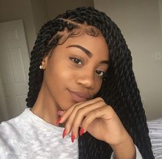 B R A I D S ‼️‼️ Tresse torsadée, Coiffure vanille, Coiffure braids Black Girl Braids, Braids For Black Hair, Girls Braids, Braids For Black Women, Box Braids Hairstyles, Protective Hairstyles, Protective Styles, Marley Twist Hairstyles, Crochet Twist Hairstyles