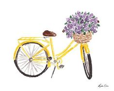 Bike Art Print - Watercolor Bike Art, Bicycle Watercolor, bike art print, bicycle illustration, bicy drawing Your place to buy and sell all things handmade Art And Illustration, Bicycle Illustration, Bike Drawing, Drawing Sketches, Art Drawings, Bicycle Print, Bicycle Design, Bicycle Painting, Buch Design