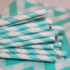 Paper Straws - 100 Aqua Striped Paper Drinking Straws with FREE  DIY Printable Flags, Birthday, Wedding, Baby Shower, Spa. $16.00, via Etsy.