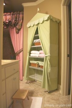 "Love this linen ""closet"" - so cute and organized!"