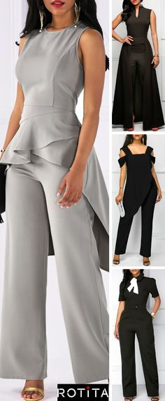 Brighten your wardrobe with these jumpsuits from Rotita.A unique design add to the standout style of this affordable holiday look.Shop the collection now. Mode Outfits, Casual Outfits, Business Attire, Work Attire, African Fashion, Dress To Impress, Plus Size Fashion, Ideias Fashion, Fashion Dresses