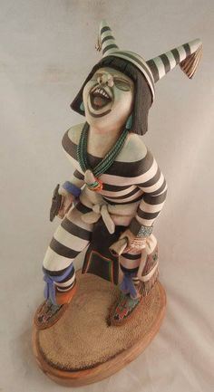 Koshare Dancer Kachina by Artist Wilmer Kaye Native American Design, Native American Pottery, American Indian Art, Native American Indians, Native Americans, Pueblo Pottery, Send In The Clowns, Southwest Art, American Spirit