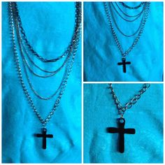 Black Cross Necklace Goth Punk Religious by SheCollectsICreate