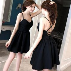 Halter Strap Dress on Luulla Lil Black Dress, Black Dress Outfits, Black Women Fashion, Asian Fashion, Teen Fashion Outfits, Fashion Dresses, Pretty Dresses, Beautiful Dresses, Korean Dress