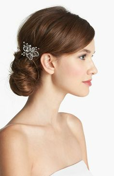 A sweet hair pin is perfect for a soft low side bun. Wedding Belles New York 'Cosette' Hair Pin