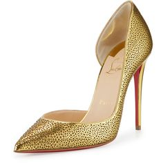 Christian Louboutin Galu Half-d'Orsay 100mm Red Sole Pump ($935) ❤ liked on Polyvore featuring shoes, pumps, pointed-toe pumps, metallic pumps, pointed toe d orsay pumps, glitter shoes and leather pointed toe pumps