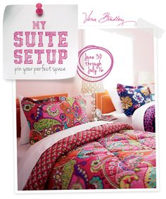 "Pin your perfect space in our #MySuiteSetupSweepstakes!  How to enter: 1. Click through to fill out the form. 2. Follow @verabradley on Pinterest. 3. Create a board titled ""My Suite Setup Sweepstakes"" and start pinning with inspiration from our Inspiration board. Include #MySuiteSetupSweepstakes in the caption of each pin. http://sweeps.piqora.com/mysuitesetupsweepstakes"